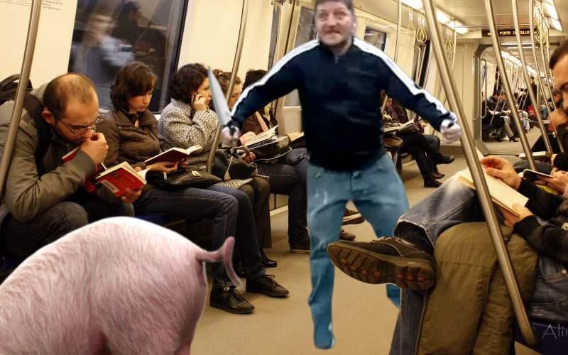 Pentru că lumea e sătulă de colinde, au apărut cerşetorii care taie porcul în metrou