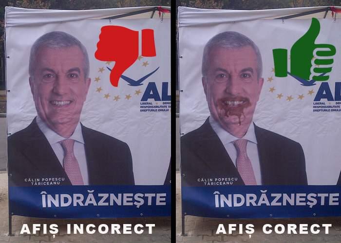 Tăriceanu, somat să schimbe afişele electorale, pentru că nu e mânjit cu căcat la gură, cum e normal