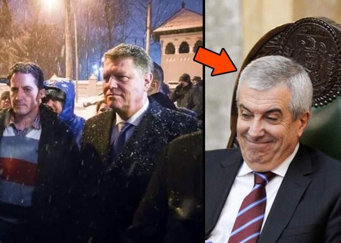 Ce parşiv! Cât a ieşit Iohannis să vorbească cu protestatarii, Tăriceanu s-a instalat la Cotroceni