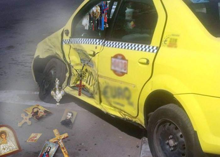 Accident oribil în Capitală. S-au ciocnit 2 taxiuri, au fost distruse 1740 de icoane