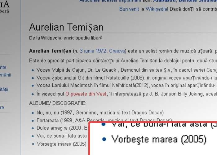 Aurelian Temişan, umilinţă maximă! În discografia lui de pe Wikipedia apare un album Cătălin Crişan