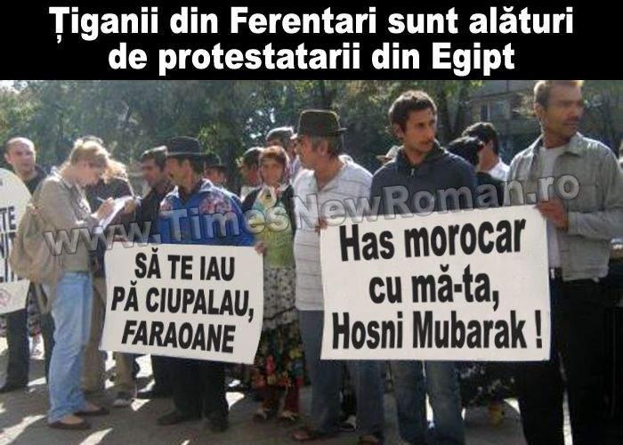 Ţiganii români s-au solidarizat cu protestatarii egipteni