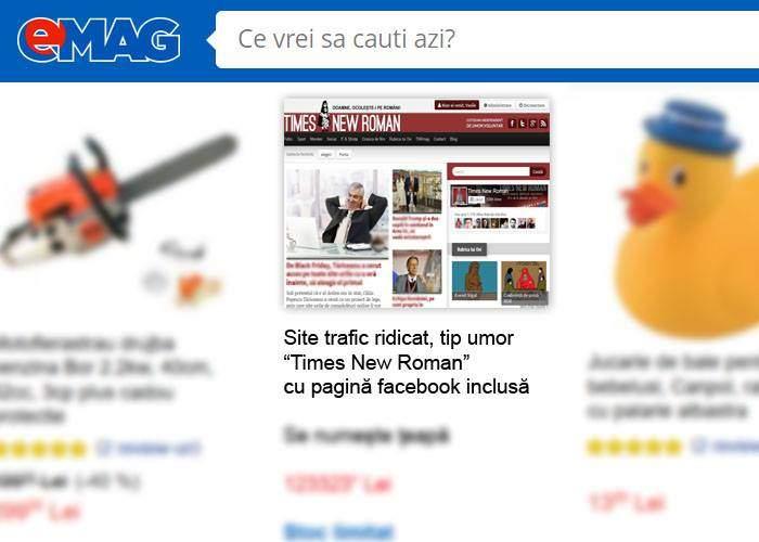 Ofertă de neratat! Site-ul Times New Roman, scos la vânzare pe eMAG de Black Friday