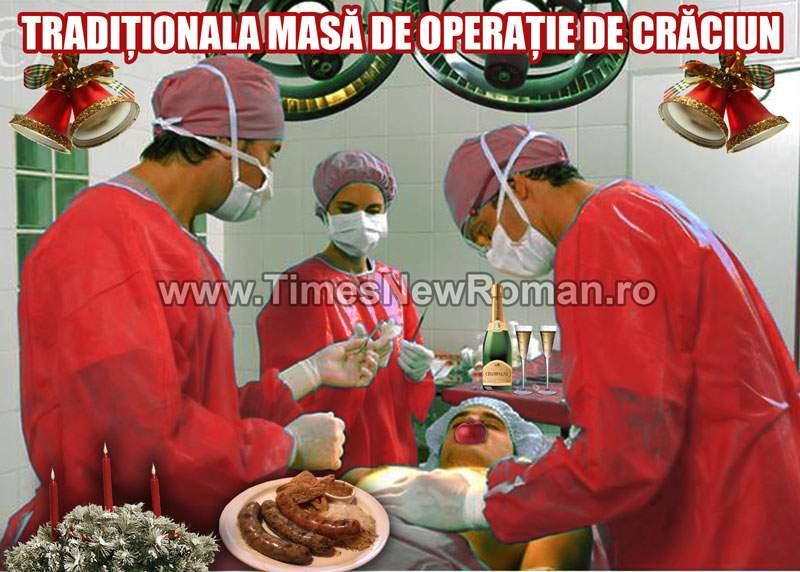 Medicii pregătesc tradiţionala masă de operaţie de Crăciun