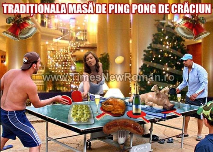 Sportivii pregătesc tradiţionala masă de ping pong de Crăciun