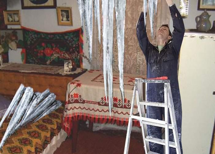 """La Întorsura Buzăului a fost atât de frig, că oamenii au băgat ţurţurii în casă: """"Ne-a fost milă!"""""""