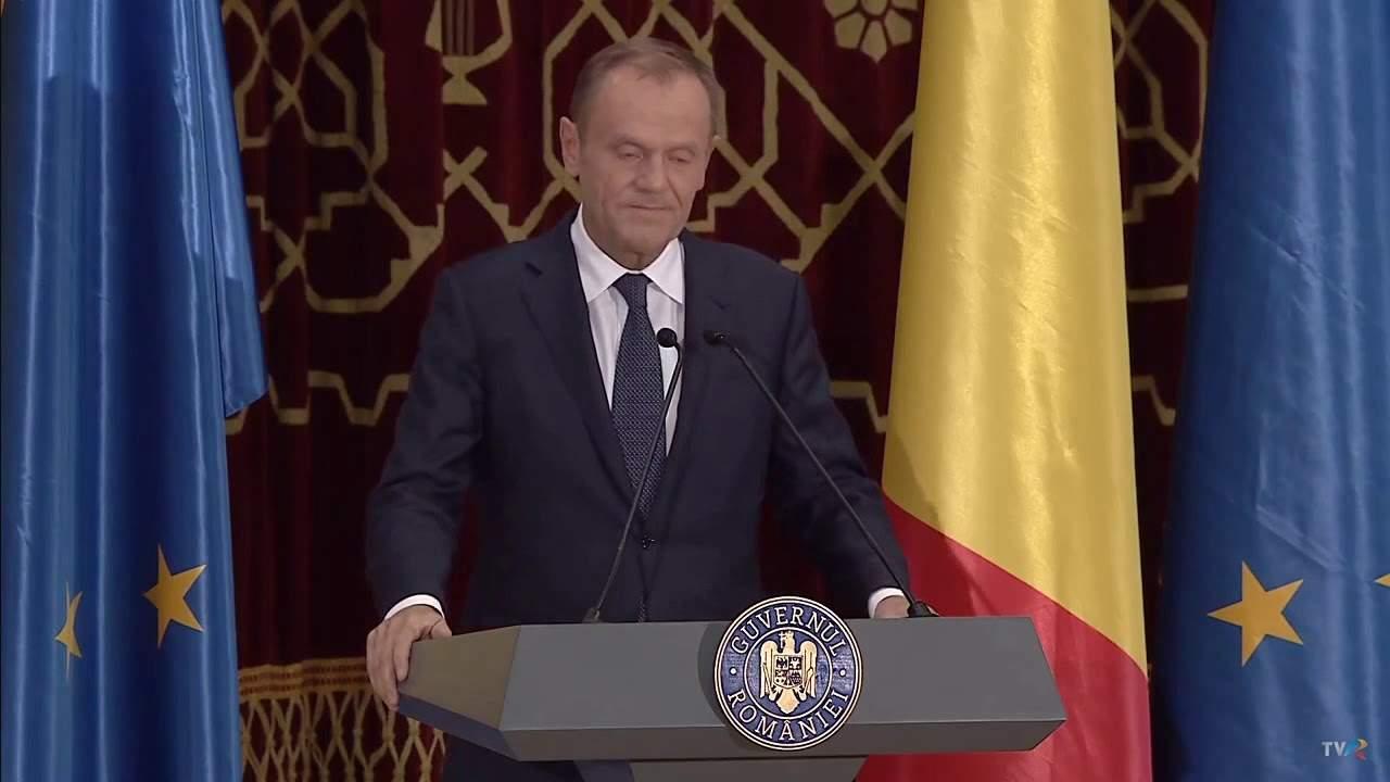 """Donald Tusk, discurs emoţionant la Ateneu: """"Primul portofel mi-a fost furat de un român"""""""