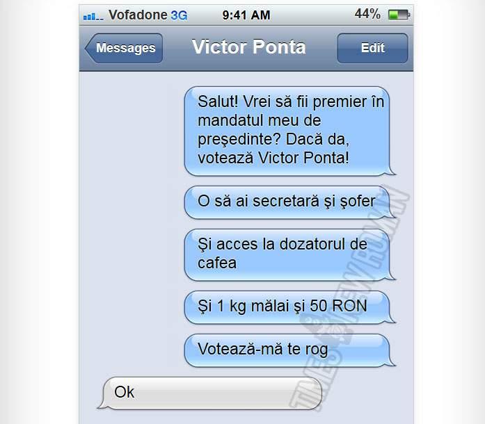 Milioane de români au primit SMS-uri în care Ponta le promite că îi numeşte premieri dacă îl votează