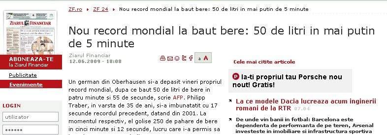 Record mondial la ignoranţă în Ziarul Financiar