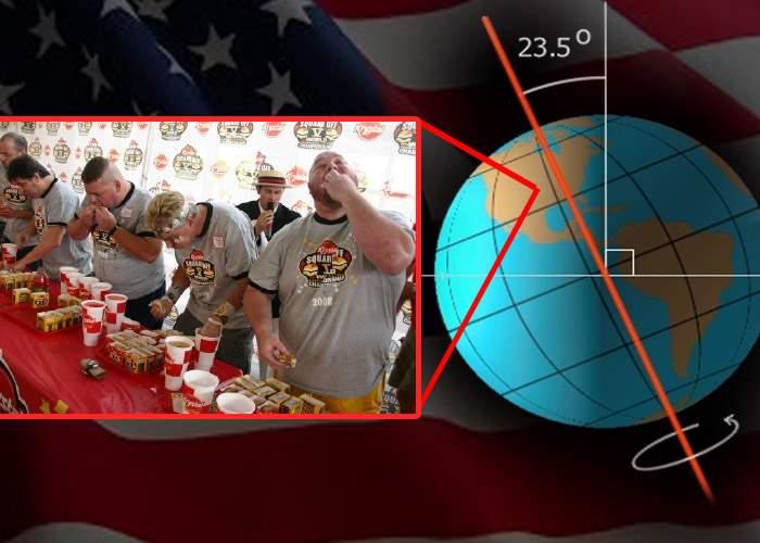 Planeta s-a înclinat de la numărul de burgeri pe care i-au mâncat americanii de ziua lor naţională
