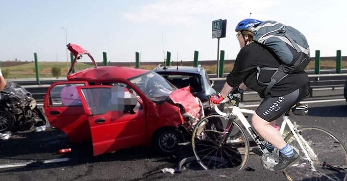 Șofer de Matiz, strivit cu tot cu mașină de o ciclistă de 200 kilograme