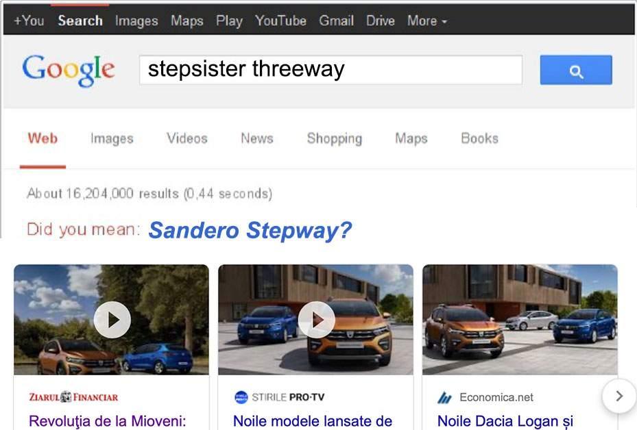 """Noua Dacia, succes istoric! """"Stepway"""", mai căutat pe internet decât """"stepsister"""""""