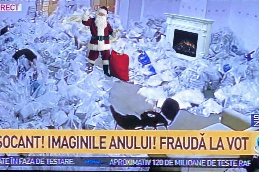 Antena 3 a prezentat imagini cu un moş care fuge cu sacii pe horn