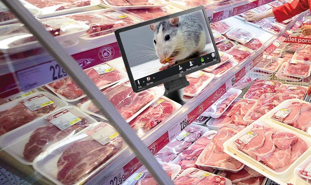 Kaufland va monta un ecran în raionul de carne, ca să lucreze şoarecele de acasă