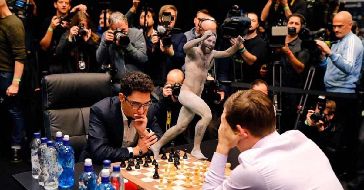 Partidă de şah, întreruptă după ce un suporter a intrat dezbrăcat pe tablă