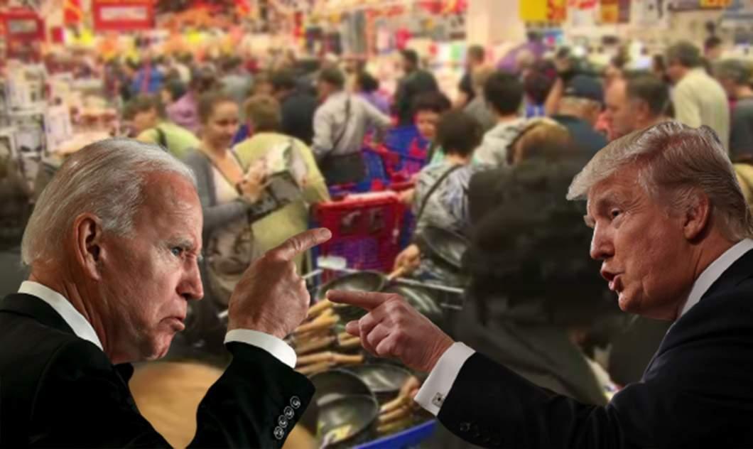 Moşii, tot moşi! Trump şi Biden s-au bătut pe o tigaie într-un supermarket din Galaţi