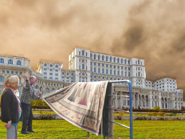 Un nor de praf acoperă Capitala. Se bat covoarele la Casa Poporului