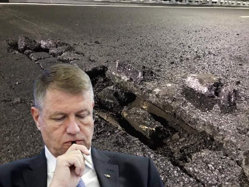 Iohannis încă n-a reușit să dea vina pe PSD pentru gropile din autostrada Moldovei