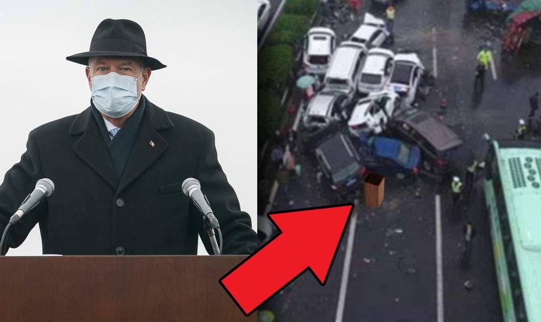 Capcană pe autostrada Moldova! Şoferii s-au izbit de pupitrul lăsat în drum de Iohannis