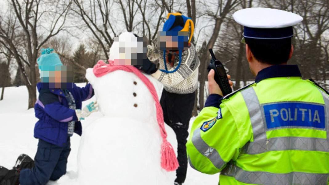 Copii, amendaţi după ce au făcut un om de zăpadă fără mască