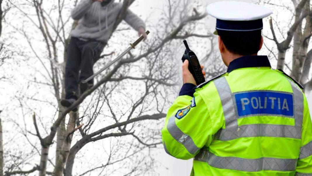 Emoționant! Jandarmeria a salvat un interlop speriat blocat într-un copac