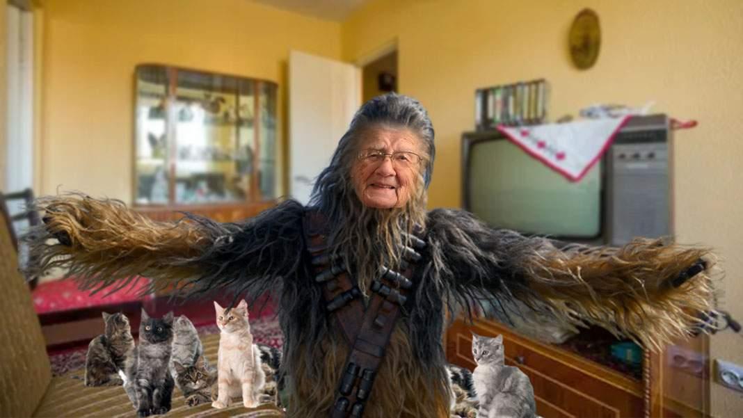 O babă e atât de plină de păr de pisică încât i se spune Chewbacca