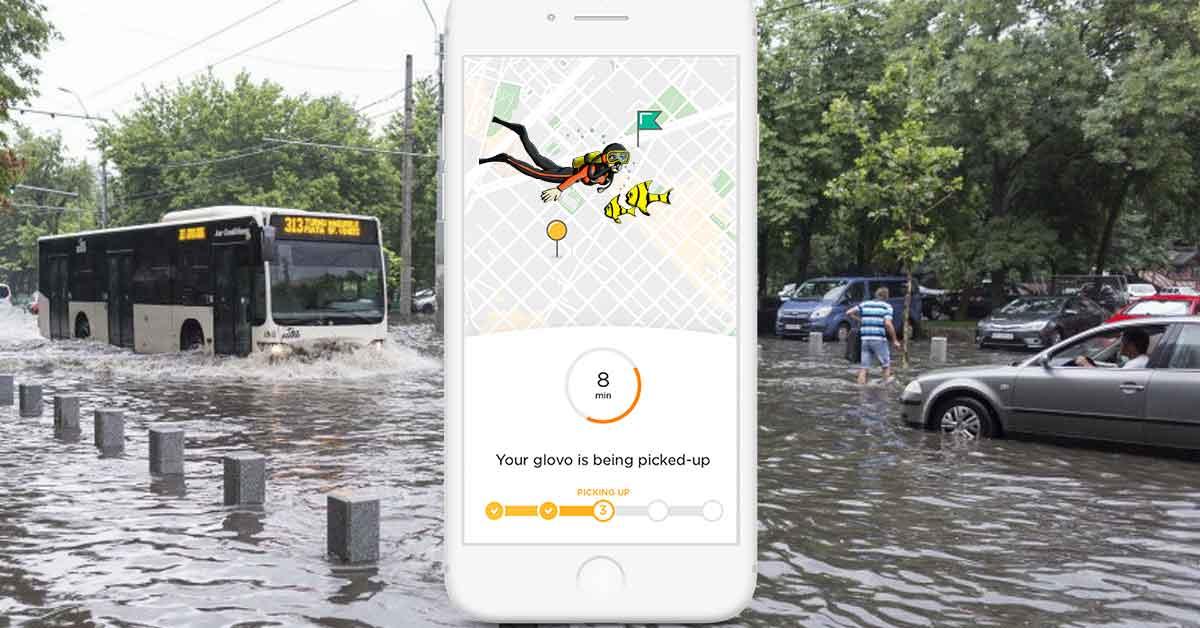 Glovo angajează scafandri, ca să acopere şi cartierele inundate