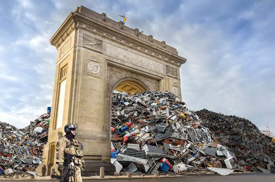 Defilarea militarilor a fost anulată, că Arcul de Triumf era înfundat cu gunoaie