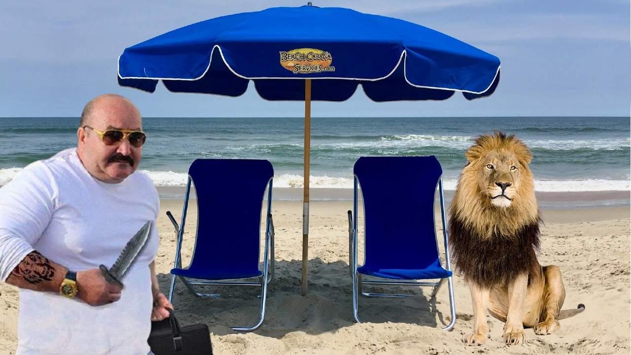 Nuțu Cămătaru își leagă leul de șezlong, să i-l țină ocupat