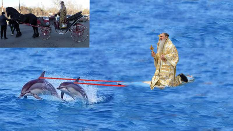 Aroganță! După caleașcă, Teodosie s-a plimbat și cu placa trasă de delfini