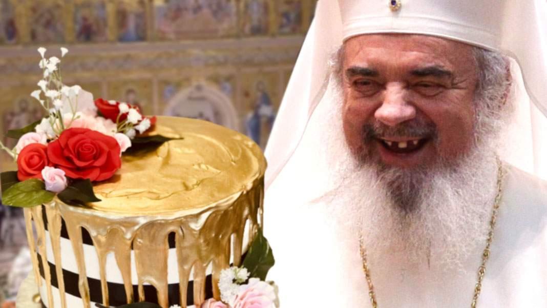 Dureros! Patriarhul Daniel şi-a rupt dinţii în tortul de aur de ziua lui