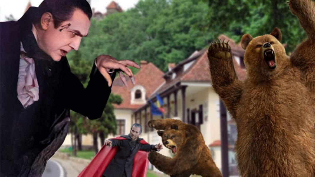 Scene de groază la Bran! Bătaie între urși și vampiri în centrul orașului