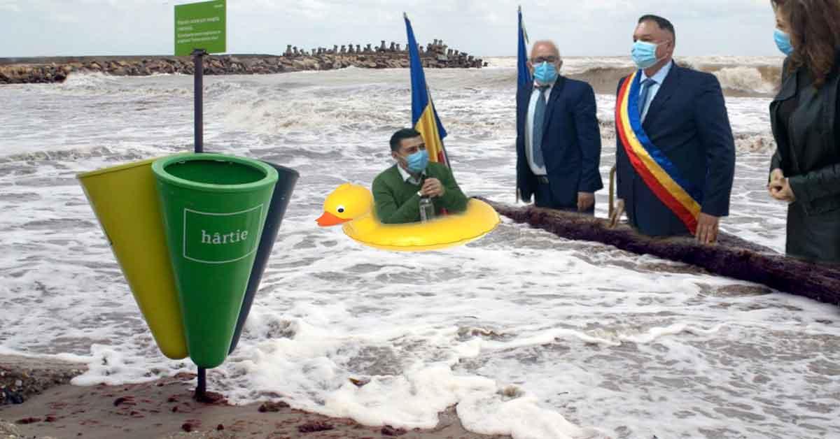 Revoluție în Costinești! A fost inaugurat al doilea coș de gunoi din stațiune