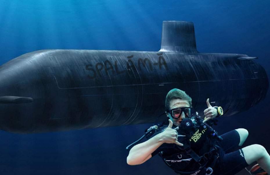 """Un scafandru român a scris cu degetul """"Spală-mă"""" pe un submarin rusesc"""