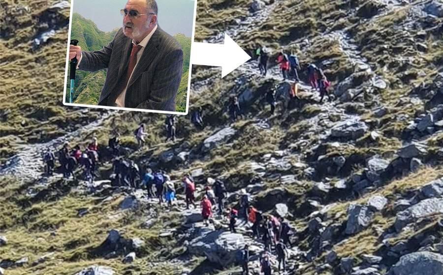 Ion Țiriac a urcat azi pe vârful Moldoveanu, cu 40 de șerpași după el