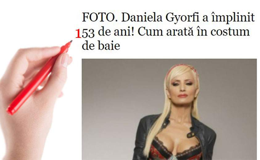 """Erată la articolul """"Daniela Gyorfi a împlinit 53 de ani"""": A împlinit 153 de ani!"""